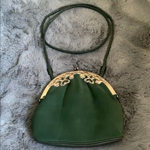 Hunter green suede purse